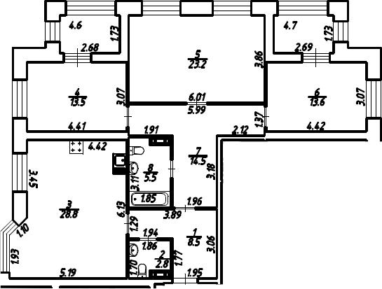 3-к.кв, 115.05 м²