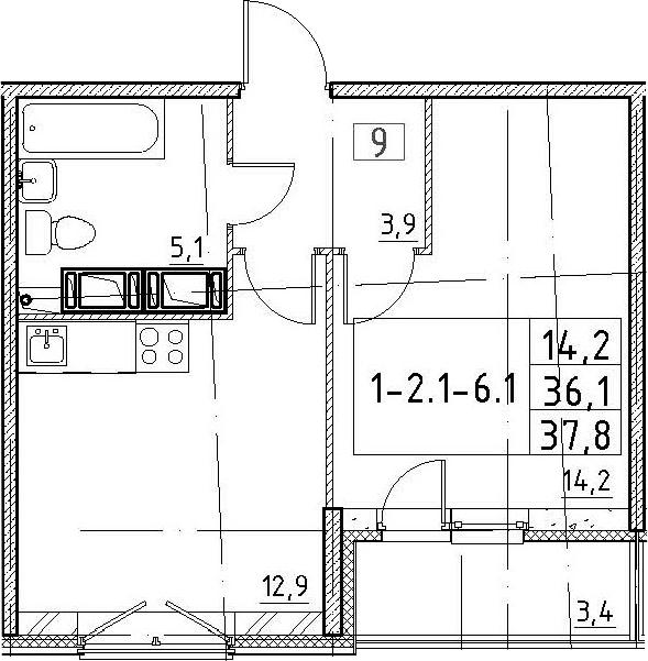 1-к.кв, 37.8 м², 4 этаж
