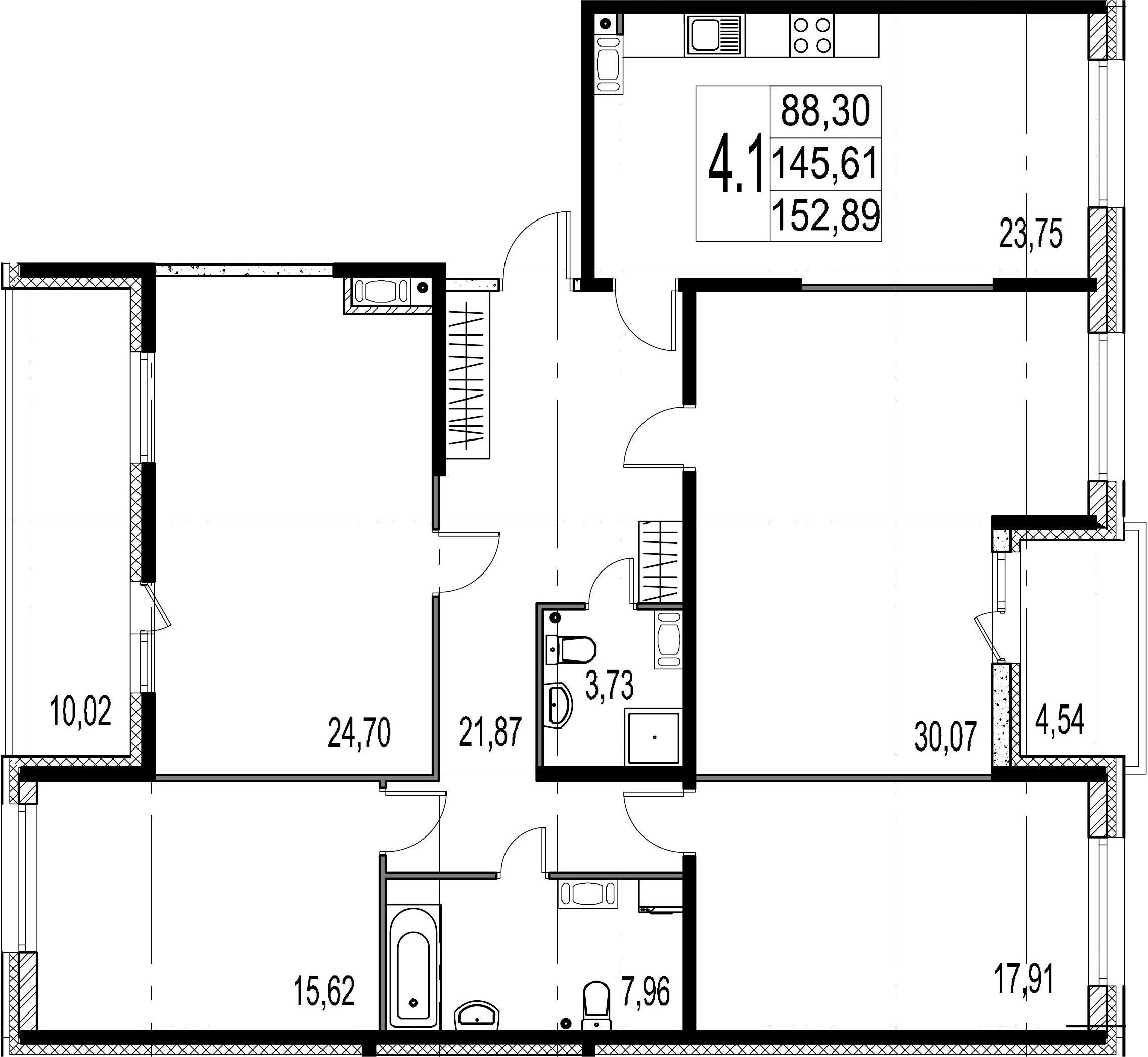 5Е-комнатная, 145.61 м²– 2