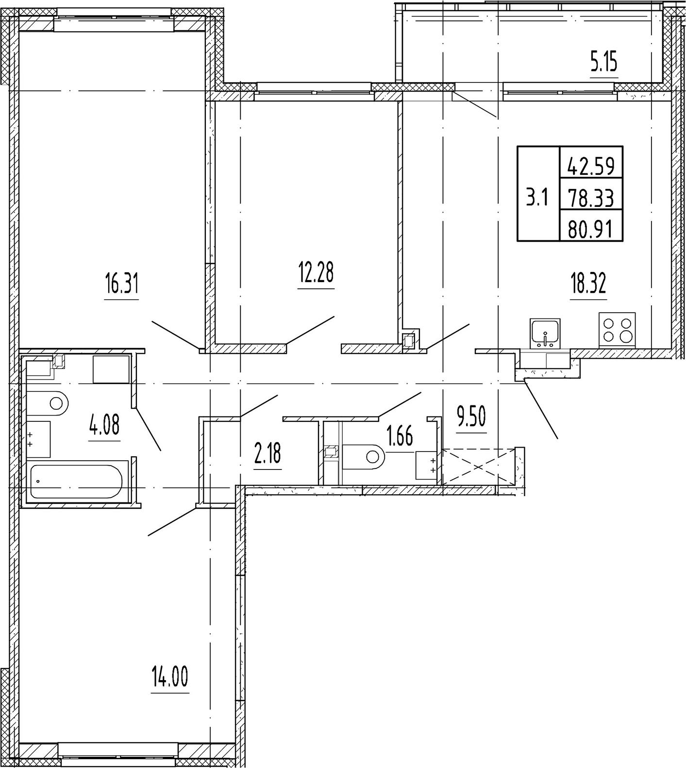 4Е-к.кв, 78.33 м²