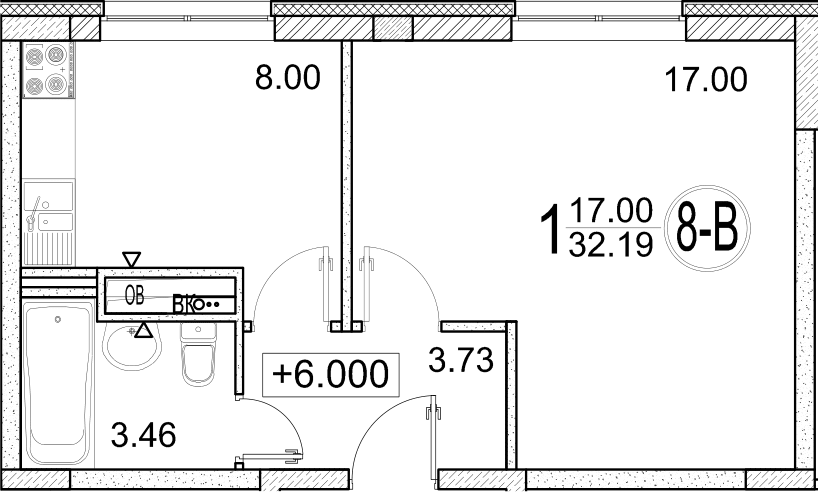 1-к.кв, 32.19 м²