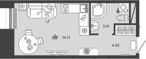 Студия, 21.64 м²