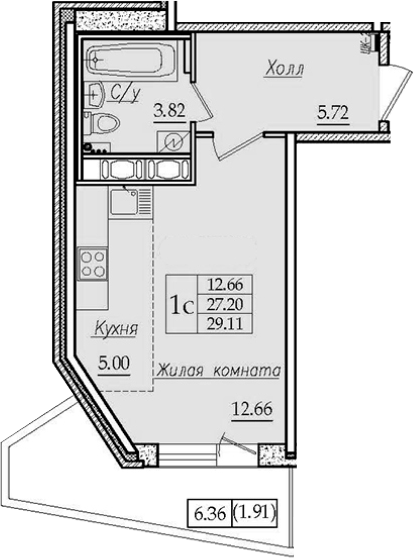Студия, 29.11 м²– 2