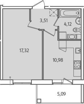 1-к.кв, 38.48 м², от 2 этажа