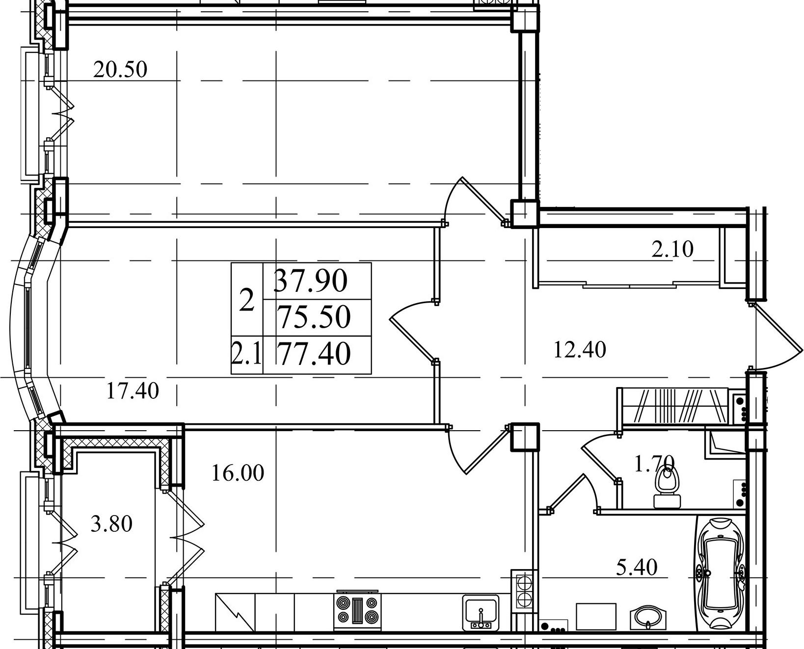 2-к.кв, 75.5 м²