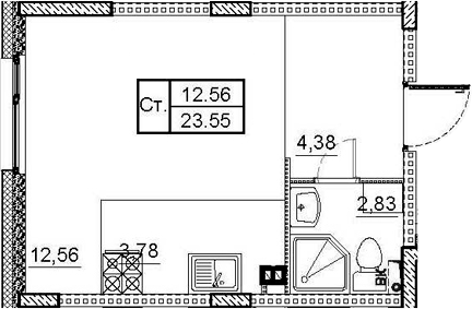 Студия, 23.55 м²– 2