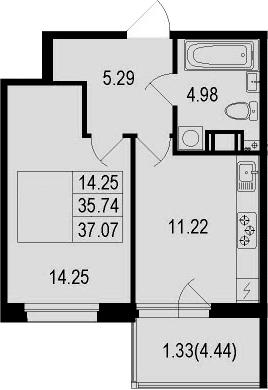 1-комнатная, 37.07 м²– 2