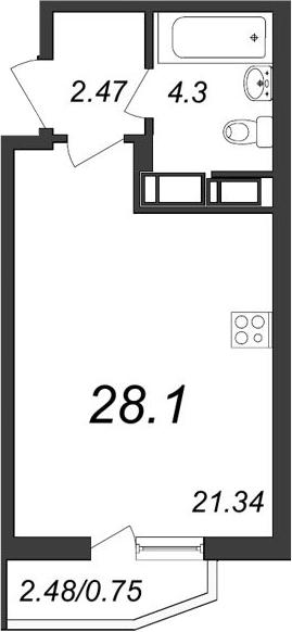 Студия, 28.1 м², 11 этаж