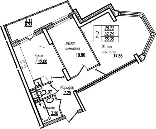 2-комнатная, 55.35 м²– 2