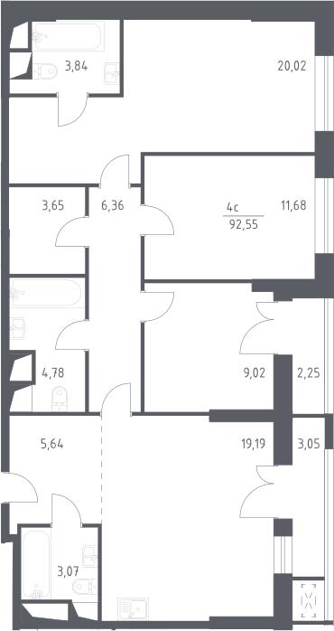 3-комнатная, 92.55 м²– 2