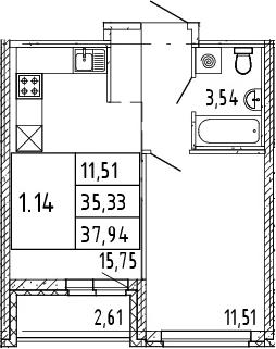 2Е-комнатная квартира, 36.64 м², 3 этаж – Планировка