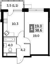 1-комнатная, 38.6 м²– 2