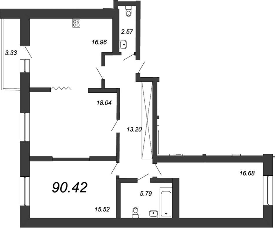 3-к.кв, 92.75 м²