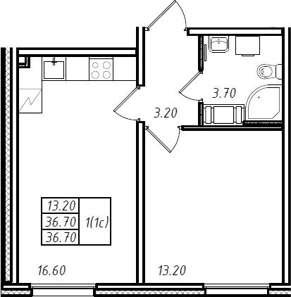 2Е-комнатная, 36.7 м²– 2