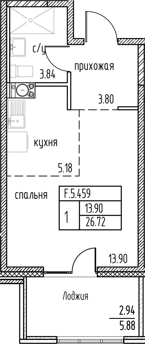Студия, 26.72 м²– 2