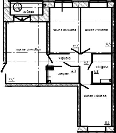 3-к.кв, 81 м²