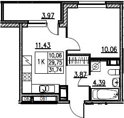 2Е-комнатная, 31.74 м²– 2