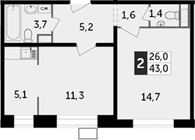 2Е-к.кв, 43 м²