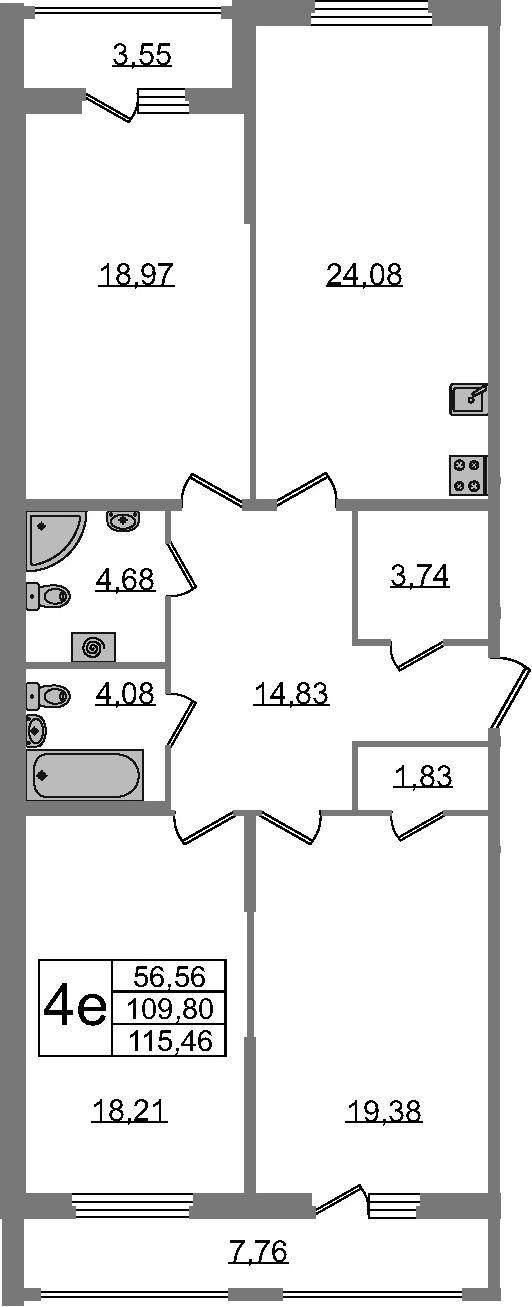 4-к.кв (евро), 121.11 м²