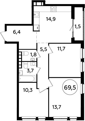 4Е-к.кв, 69.5 м², 20 этаж