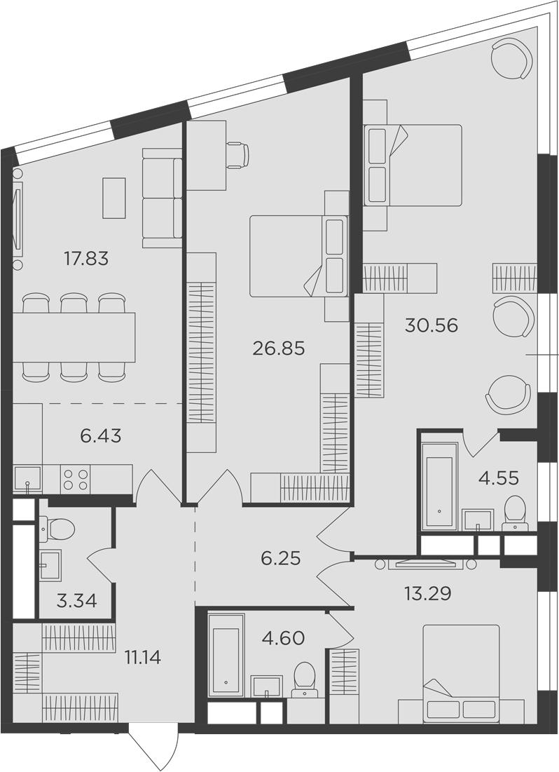4Е-к.кв, 124.84 м², 22 этаж