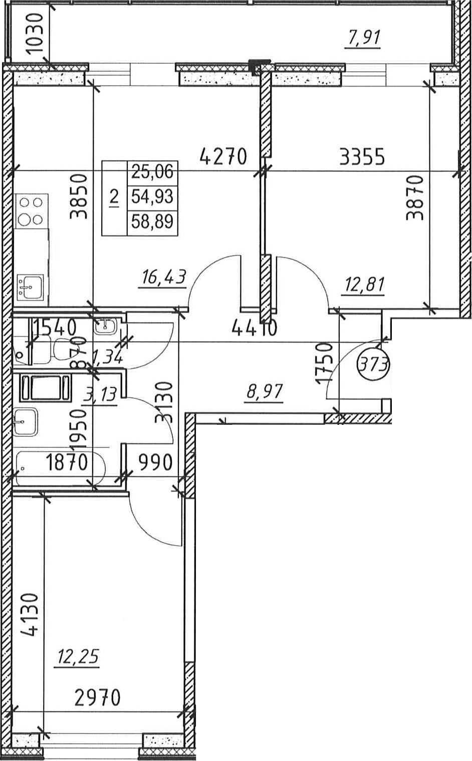 2-к.кв, 62.84 м²
