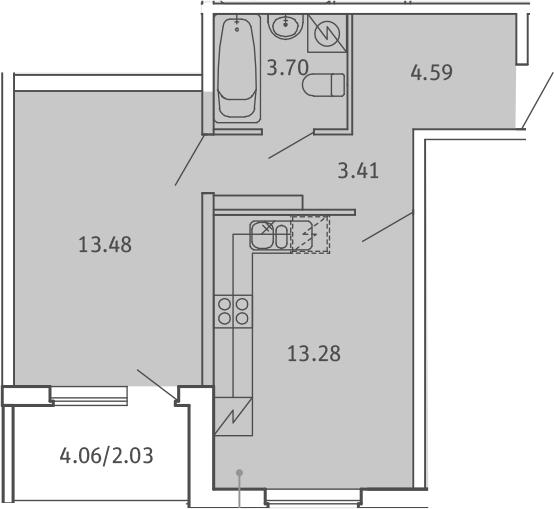1-к.кв, 40.49 м²