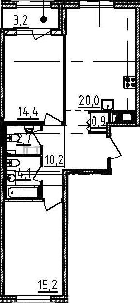 3Е-комнатная, 69.1 м²– 2
