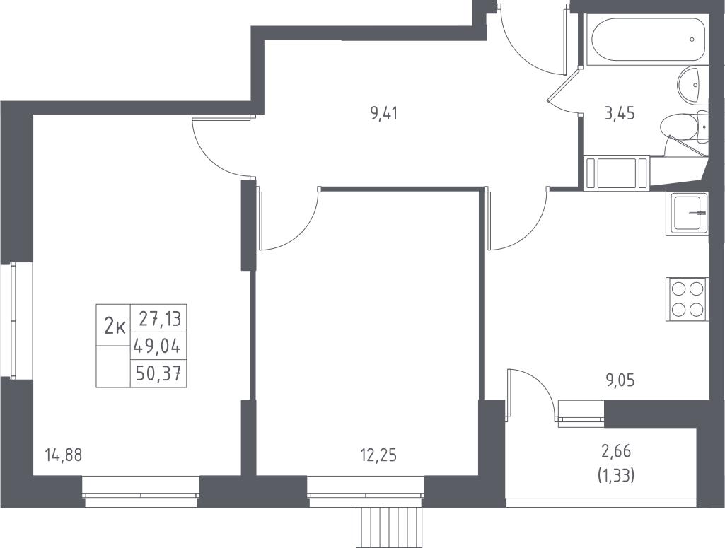 2-к.кв, 50.37 м²