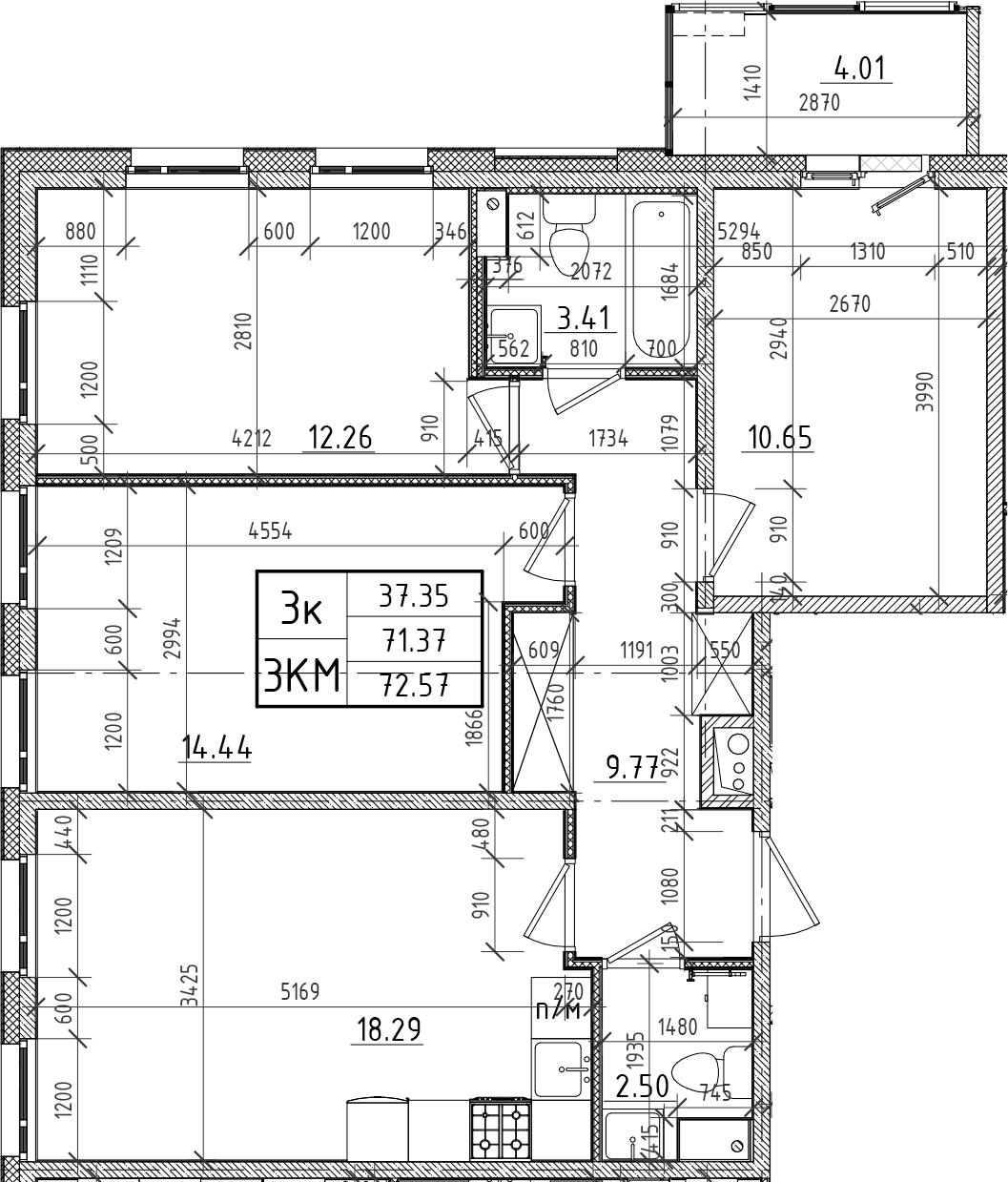 4Е-к.кв, 71.37 м²