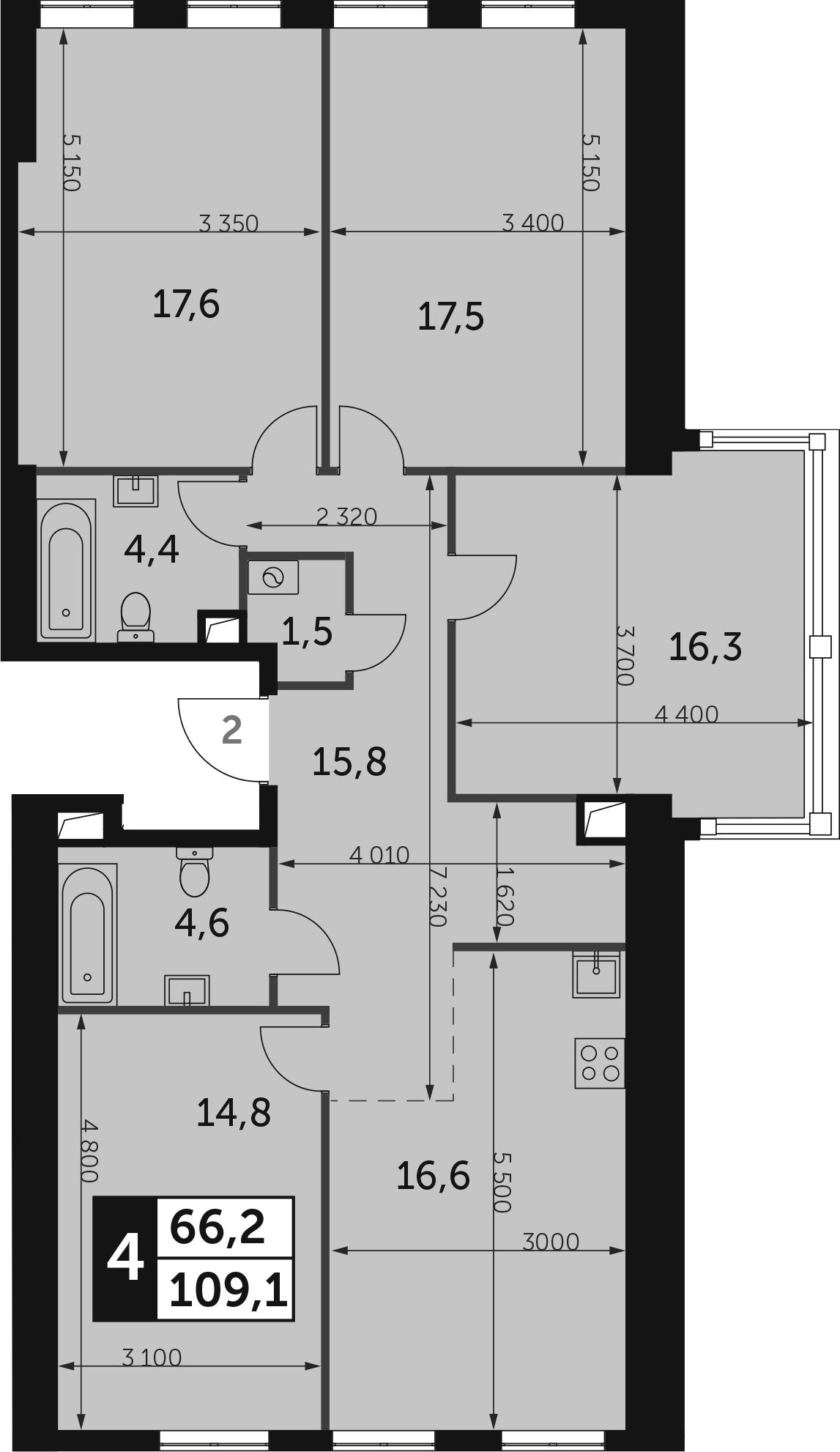 4-к.кв, 109.1 м², от 31 этажа