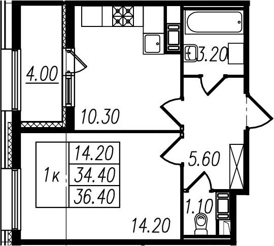 1-комнатная, 34.4 м²– 2