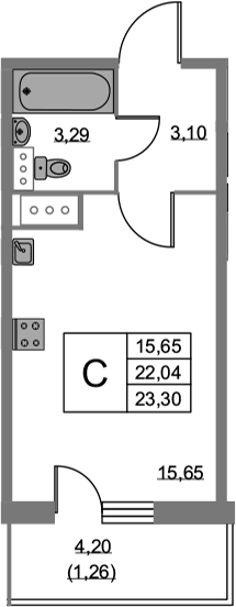 Студия, 23.3 м²– 2