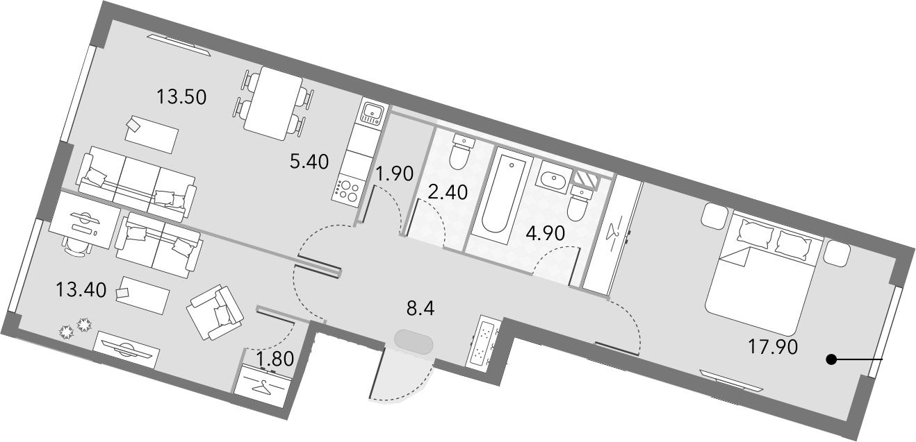 3Е-комнатная, 69.6 м²– 2
