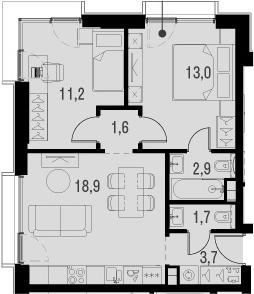 3Е-к.кв, 53.1 м², 11 этаж