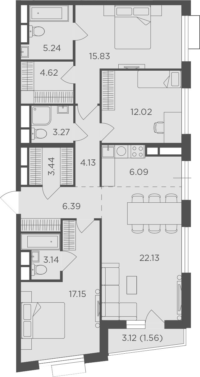 4Е-комнатная, 105.01 м²– 2