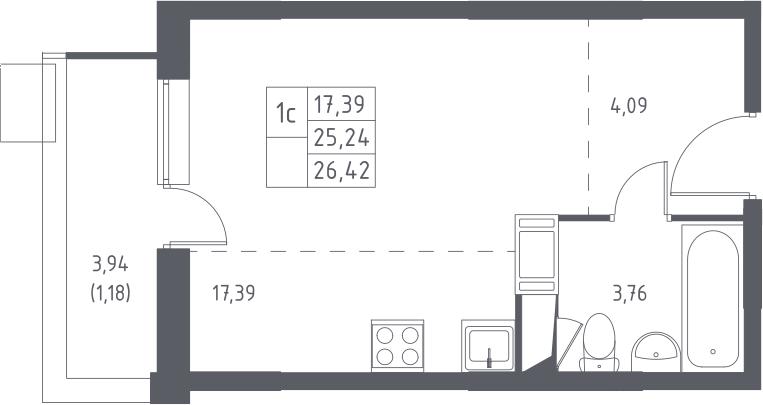 Студия, 29.18 м²