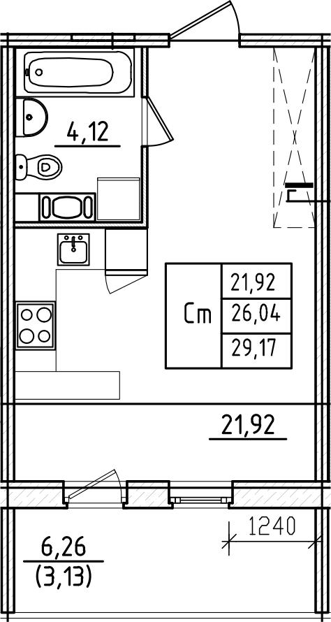 Студия, 29.17 м²– 2