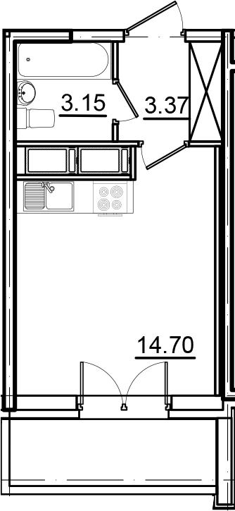 Студия, 22.55 м², 11 этаж