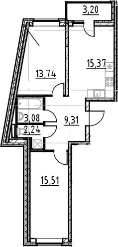 2-к.кв, 62.45 м²