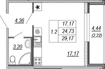 Студия, 24.73 м², от 9 этажа