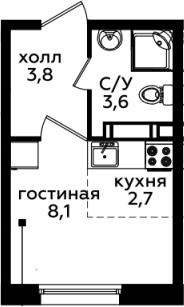 Студия, 18.2 м²– 2