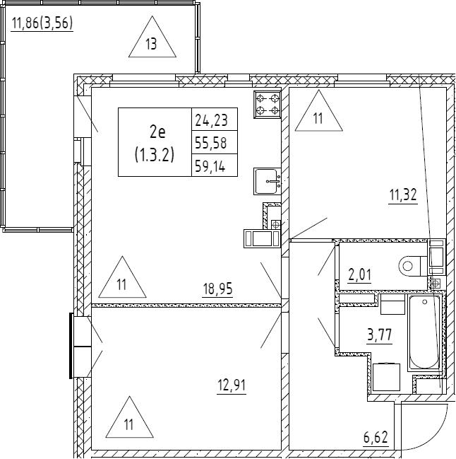 3Е-к.кв, 59.14 м², от 3 этажа