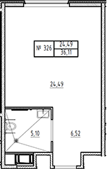 Студия, 36.11 м²