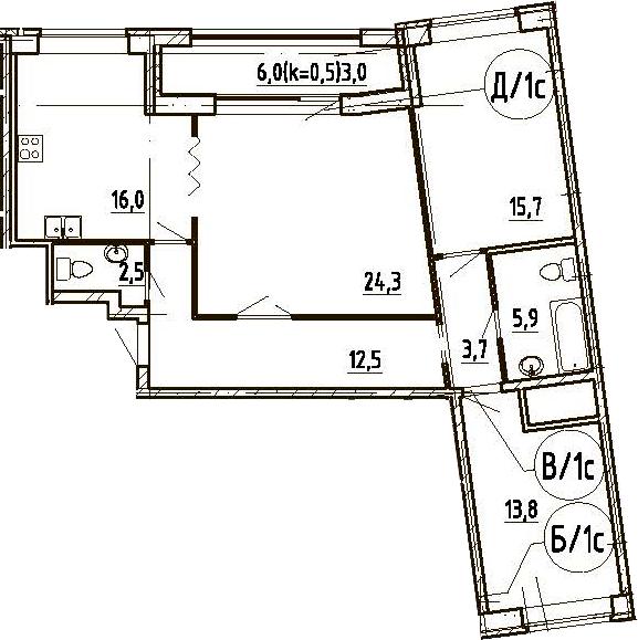 4Е-комнатная, 97.4 м²– 2