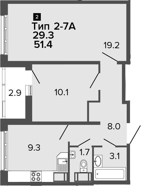 2-к.кв, 51.4 м², от 20 этажа