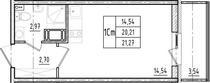 Студия, 20.21 м², 17 этаж