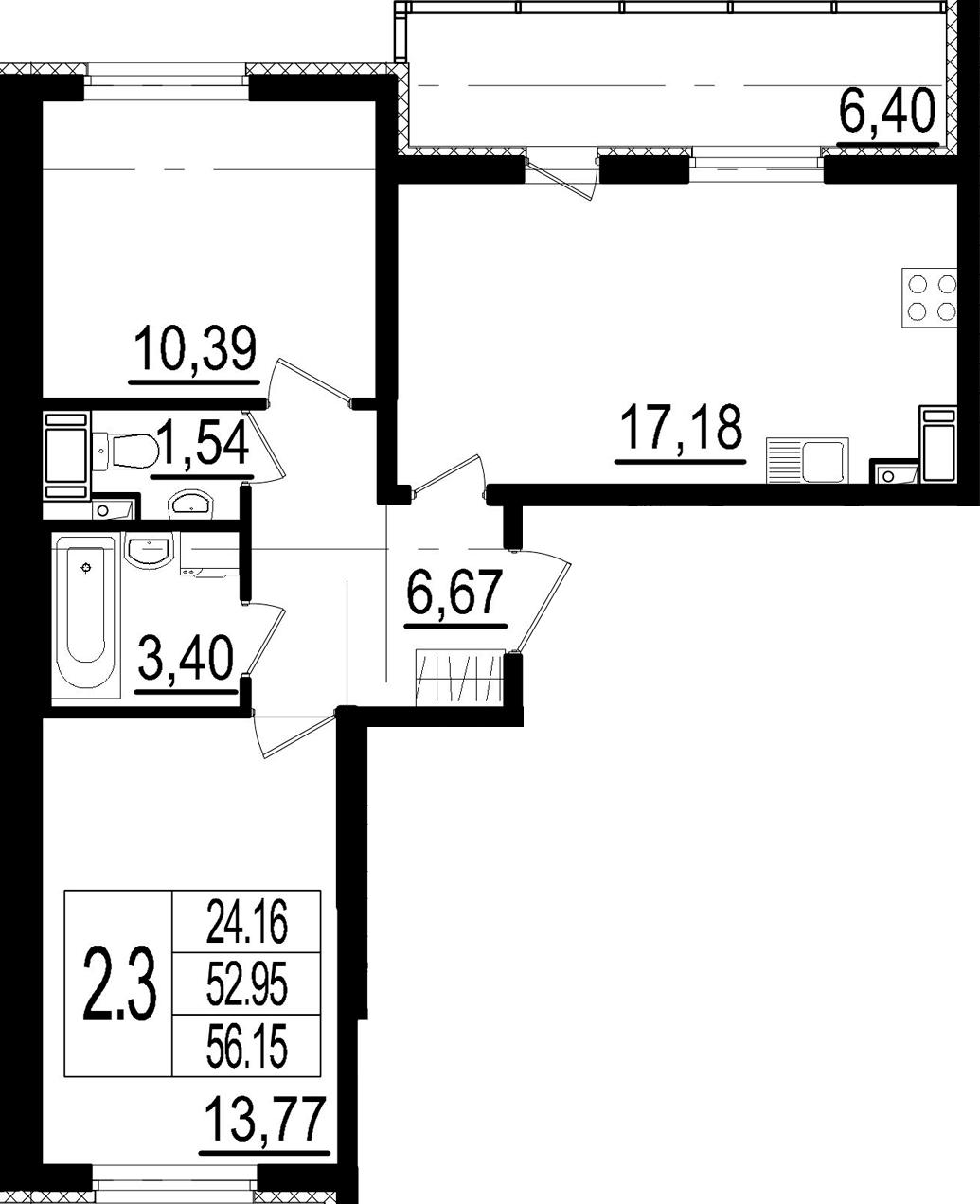 3Е-к.кв, 52.95 м²