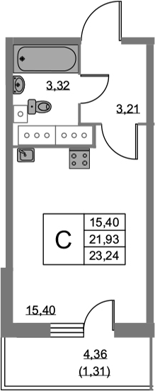 Студия, 23.24 м², 21 этаж