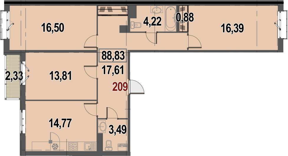 3-комнатная, 88.83 м²– 2